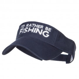 I'd Rather Be Fishing Embroidered Visor - Navy