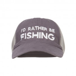 I'd Rather Be Fishing Embroidered Big Mesh Cap - Charcoal Grey