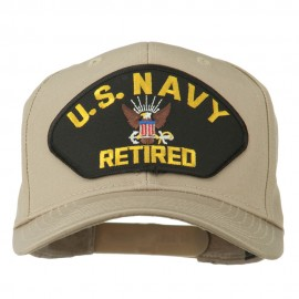 US Navy Retired Military Patched Cap - Khaki