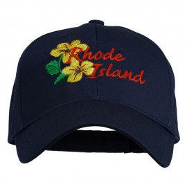 USA State Rhode Island Violet Embroidered Low Profile Cap - Navy