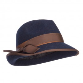 Women's Ribbon Accent Wool Fedora - Navy