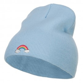 Mini Rainbow Embroidered Short Beanie