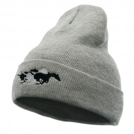 Racing Horses Embroidered 12 Inch Long Knitted Beanie