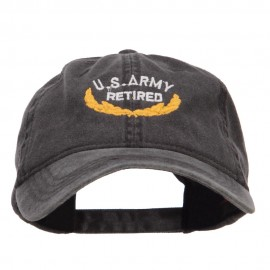 US Army Retired Emblem Embroidered Washed Cap - Black