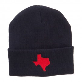 Red Texas State Map Embroidered Cuff Beanie