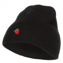 Mini Strawberry Embroidered Short Beanie