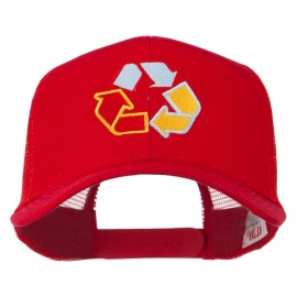 Recycle Logo Embroidered Mesh Cap - Red