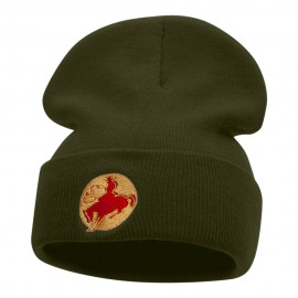 Rodeo Cowboy Logo Embroidered Long Knitted Beanie