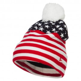 USA Flag Design Pom Cuff Beanie