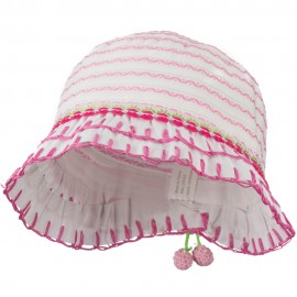 Girl's Hat with Stitched Accent Brim and Flower