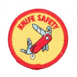 Knife Safety Embroidered Patch - Yellow