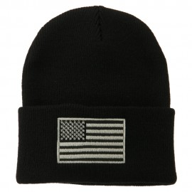 Silver American Flag Embroidered Beanie - Black