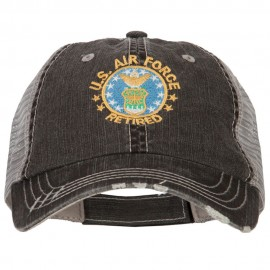 US Air Force Retired Embroidered Low Profile Cotton Mesh Cap