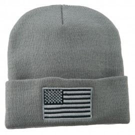 Silver American Flag Embroidered Beanie