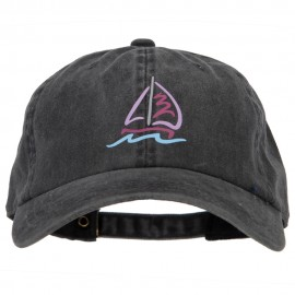 Sailboat with Wave Symbol Heat Transfer Unstructured Cotton Washed Cap