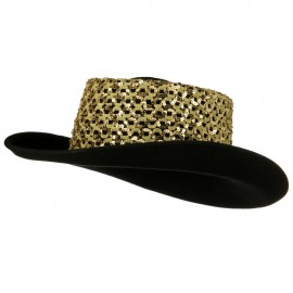 Sequin Band Wool Felt Hat