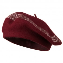 Stone Lined Wool Beret - Wine