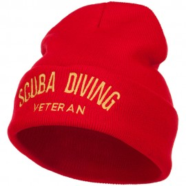 Scuba Diving Veteran Embroidered Long Beanie