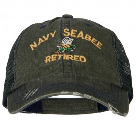 US Navy Seabee Retired Embroidered Low Profile Cotton Mesh Cap
