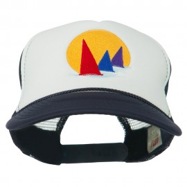 Sailboat Under Sun Embroidered Foam Mesh Back Cap