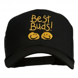 Best Buds Smiley Faces Embroidered Mesh Cap - Black