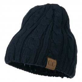 Solid Cable Knit Beanie - Navy