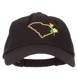 South Carolina Yellow Jessamine with Map Embroidered Unstructured Washed Cap