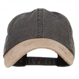 Suede Bill Washed Pigment Dyed Cap - Black Tan