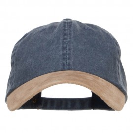 Suede Bill Washed Pigment Dyed Cap - Navy Tan