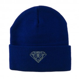Small Diamond Embroidered Long Beanie - Royal