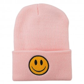 Smiley Face Embroidered Long Beanie - Pink