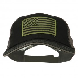 Subdued American Flag Patched Big Size Washed Mesh Cap - Black Grey