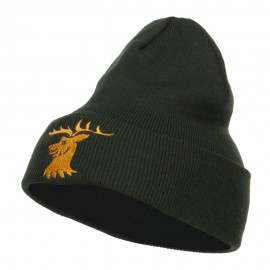 Stag Emblem Embroidered Long Beanie