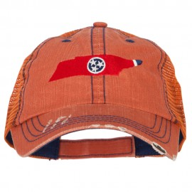 Tennessee State Map Flag Embroidered Low Profile Cotton Mesh Cap