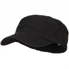 Big Size Fitted Ripstop Cotton Military Army Cap - Black