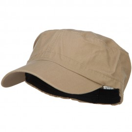 Big Size Fitted Ripstop Cotton Military Army Cap - Khaki