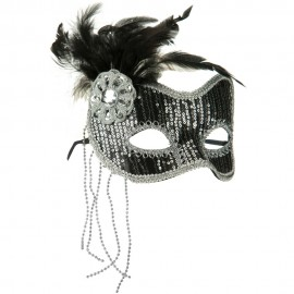 Sequin Feather Mask - Silver