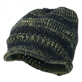 Mixed Tone Soft Beanie Visor - Navy