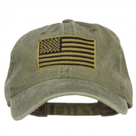 Subdued American Flag Embroidered Washed Buckle Cap