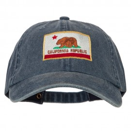 California State Flag Embroidered Big Size Washed Cap