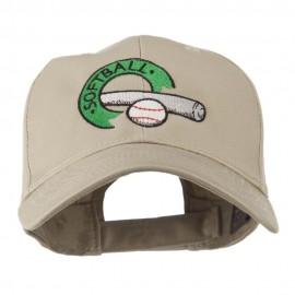 Softball with Bat and Baseball Embroidered Cap