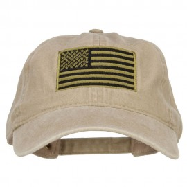 Subdued American Flag Embroidered Washed Buckle Cap - Khaki