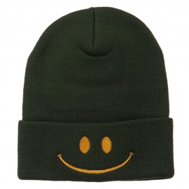 Happy Smiley Face Embroidered Knit Beanie - Olive
