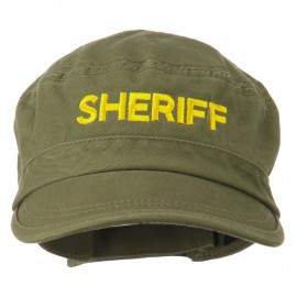 Sheriff Embroidered Enzyme Army Cap - Olive