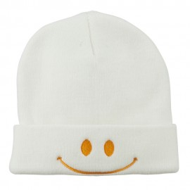 Happy Smiley Face Embroidered Knit Beanie - White