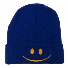 Happy Smiley Face Embroidered Knit Beanie - Royal