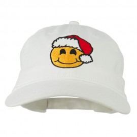 Smiley Face Santa Embroidered Washed Cap
