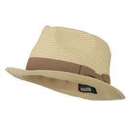 Big Size Grosgrain Ribbon Braided Straw Fedora - Natural