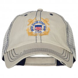 US Coast Guard Anchors Logo Embroidered Low Profile Cotton Mesh Cap