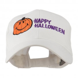 Happy Halloween Smiley Pumpkin Embroidered Cap